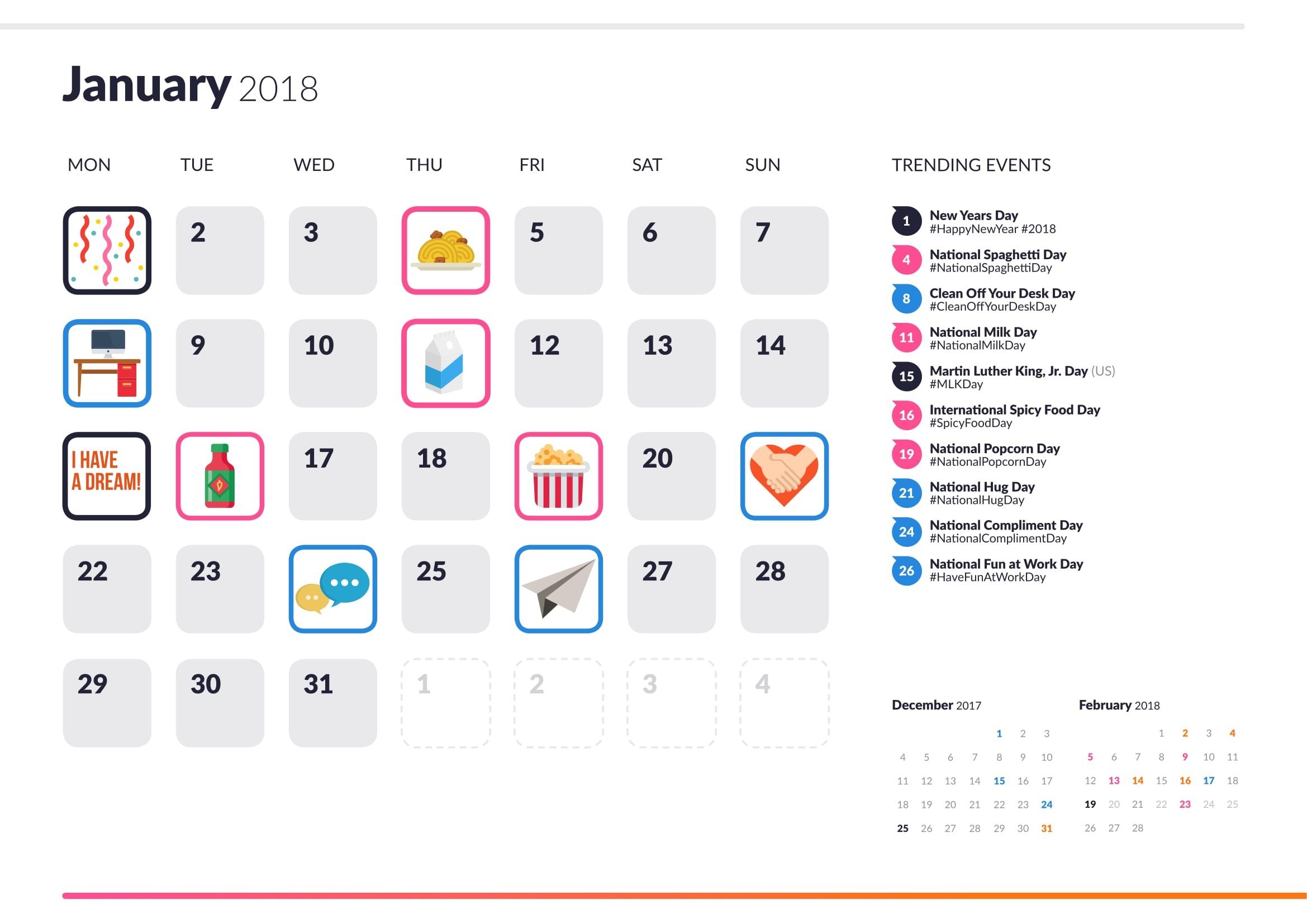 Social media calendar 2018